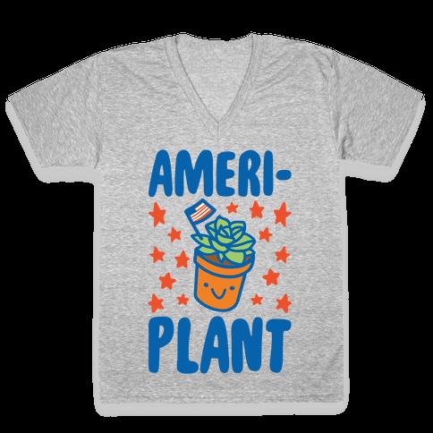 Ameriplant White Print V-Neck Tee Shirt