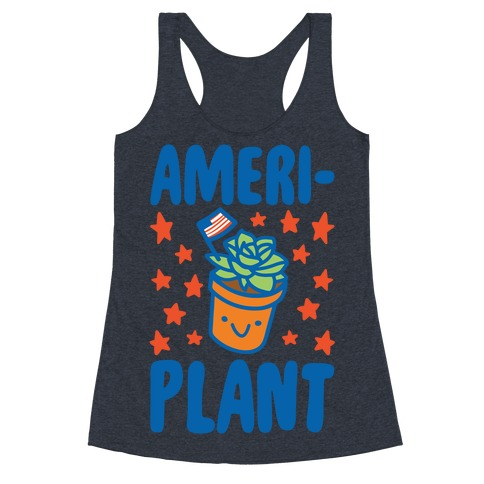 Ameriplant White Print Racerback Tank Top