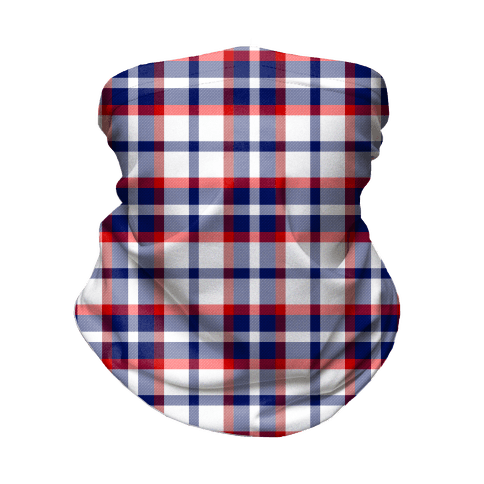Red white and blue Plaid Neck Gaiter