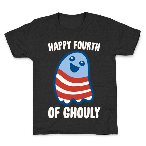 Happy Fourth of Ghouly White Print Kids T-Shirt