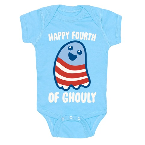 Happy Fourth of Ghouly White Print Baby One-Piece