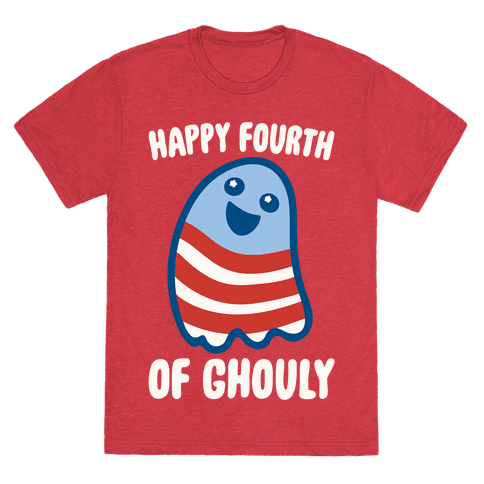 Happy Fourth of Ghouly White Print Mens/Unisex T-Shirt