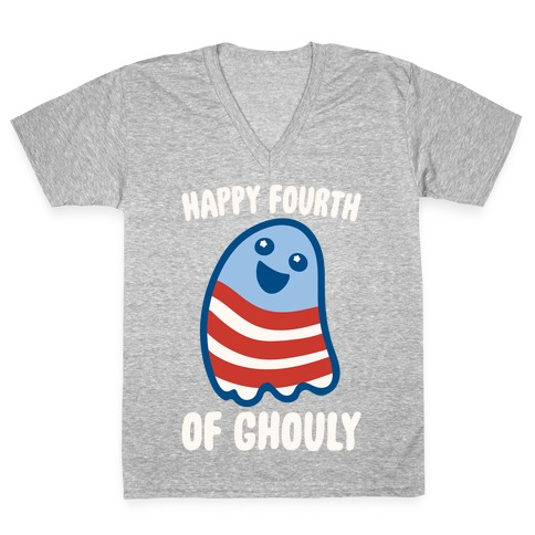 Happy Fourth of Ghouly White Print V-Neck Tee Shirt