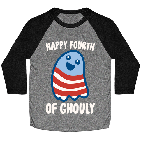 Happy Fourth of Ghouly White Print Baseball Tee