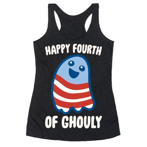 Happy Fourth of Ghouly White Print Racerback Tank Top