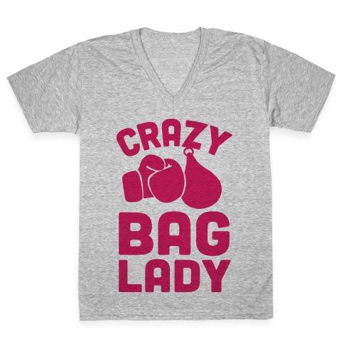 Crazy Bag Lady V-Neck Tee Shirt