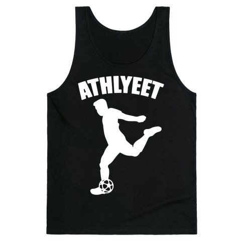 Athlyeet Soccer White Print Tank Top