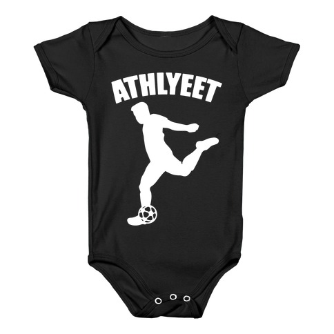 Athlyeet Soccer White Print Baby Onesy