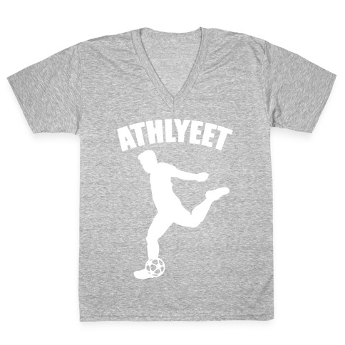Athlyeet Soccer White Print V-Neck Tee Shirt