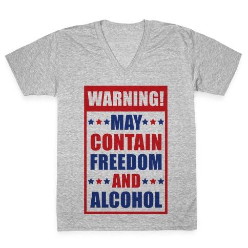 Warning May Contain Freedom and Alcohol V-Neck Tee Shirt