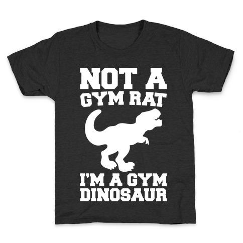 Not A Gym Rat I'm A Gym Dinosaur White Print Kids T-Shirt