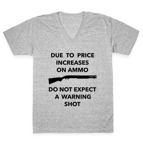 Don't Expect A Warning Shot (Political) V-Neck Tee Shirt