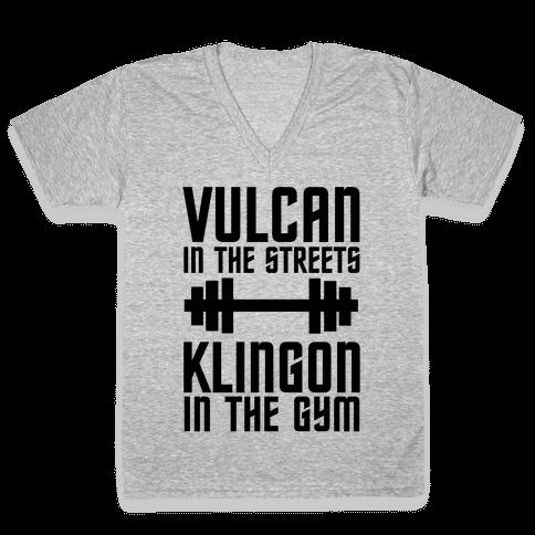 Klingon in the Gym V-Neck Tee Shirt