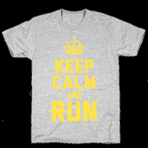 Keep Calm and Run (Dark Tank) Mens T-Shirt
