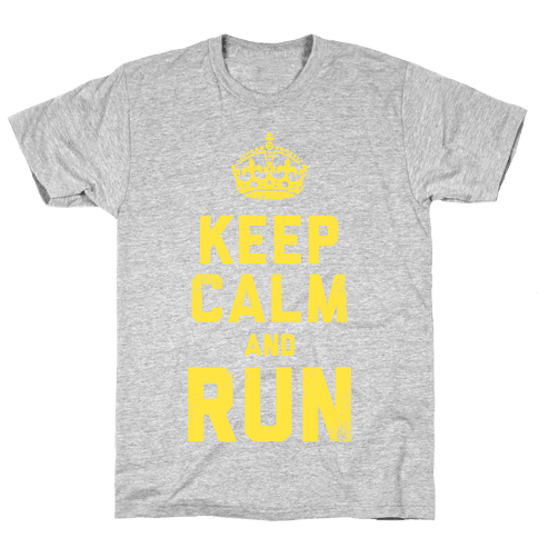 Keep Calm and Run (Dark Tank) Mens T-Shirt