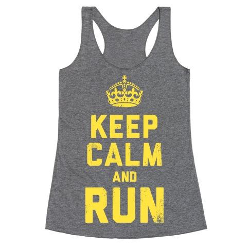Keep Calm and Run (Dark Tank) Racerback Tank Top