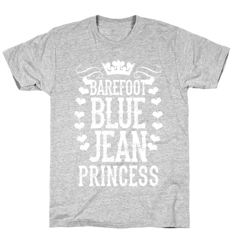 Barefoot Blue Jean Princess Mens T-Shirt