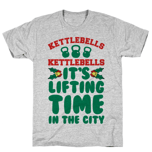 Kettlebells Kettlebells It's Lifting Time in the City Mens T-Shirt
