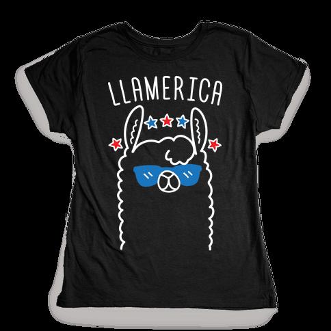 Llamerica American Llama Womens T-Shirt