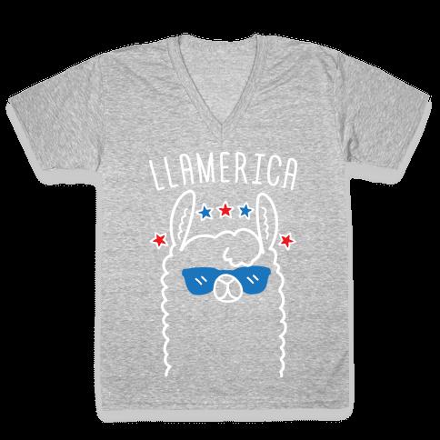 Llamerica American Llama V-Neck Tee Shirt