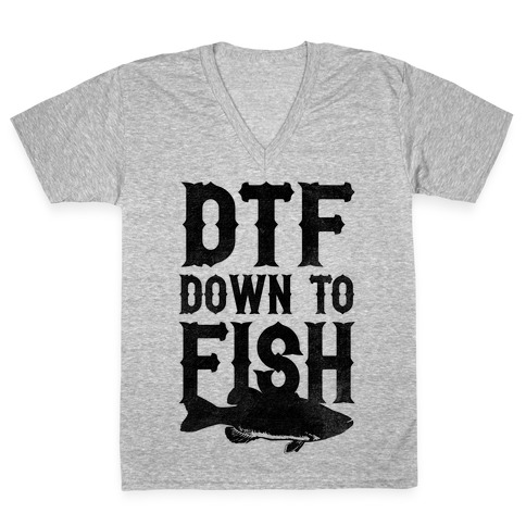Down To Fish V-Neck Tee Shirt
