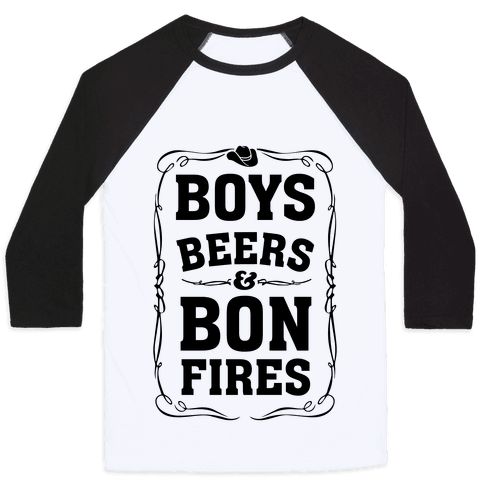 Boys Beers & Bonfires Baseball Tee