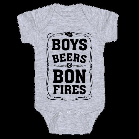 Boys Beers & Bonfires Baby Onesy