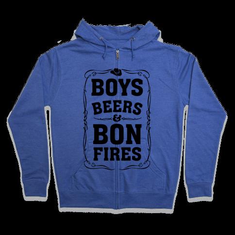 Boys Beers & Bonfires Zip Hoodie
