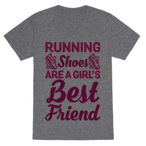 Running Shoes Are a Girl's Best Friend V-Neck Tee Shirt