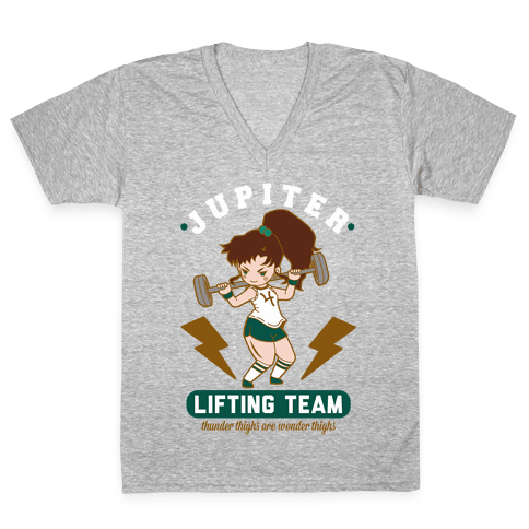 Jupiter Lifting Team Thunder Thighs are Wonder Thighs V-Neck Tee Shirt