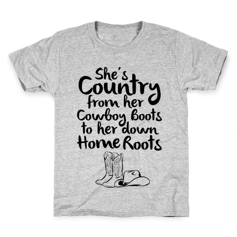 Cowboy Boots and Home Grown Roots Kids T-Shirt