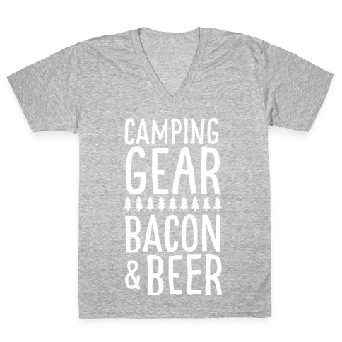 Camping Gear, Bacon, & Beer V-Neck Tee Shirt