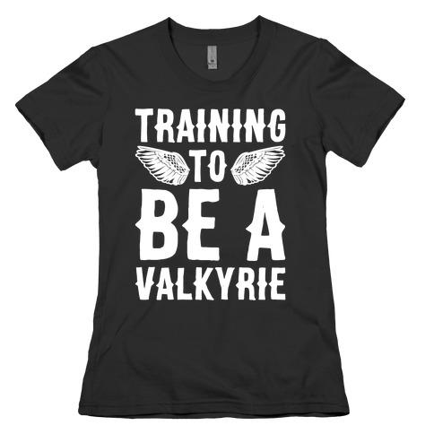 Training To Be A Valkyrie Parody White Print Womens T-Shirt