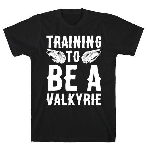 Training To Be A Valkyrie Parody White Print T-Shirt