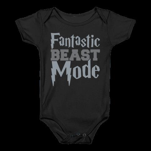 Fantastic Beast Mode Parody White Print Baby Onesy