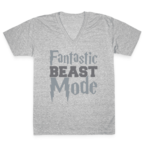Fantastic Beast Mode Parody White Print V-Neck Tee Shirt