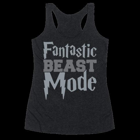 Fantastic Beast Mode Parody White Print Racerback Tank Top
