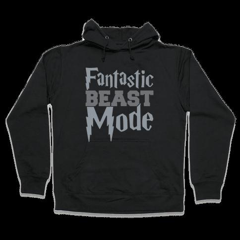 Fantastic Beast Mode Parody White Print Hooded Sweatshirt