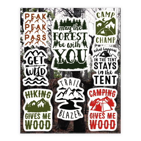 Camping Humor Sticker and Decal Sheet