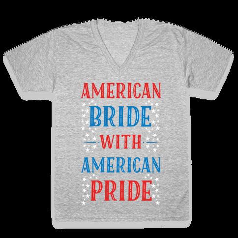 American Bride with American Pride V-Neck Tee Shirt
