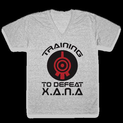 Training To Defeat XANA V-Neck Tee Shirt