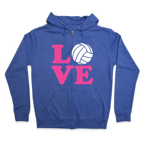 Love Volleyball Zip Hoodie