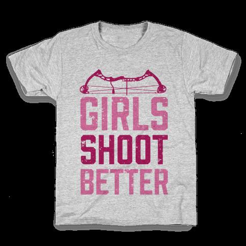 Girls Shoot Better (Bow) Kids T-Shirt
