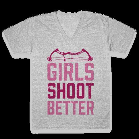 Girls Shoot Better (Bow) V-Neck Tee Shirt