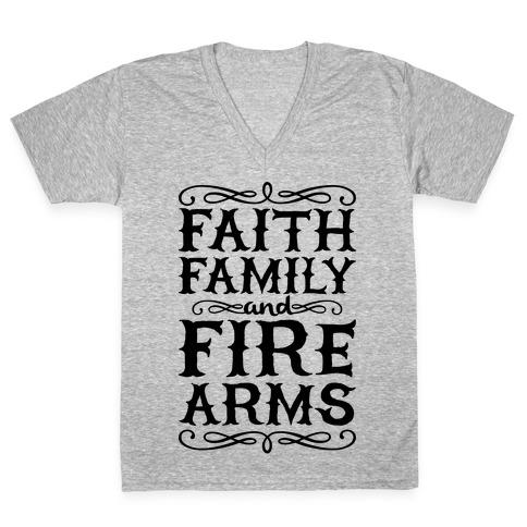 Faith, Family, And Firearms (Political) V-Neck Tee Shirt