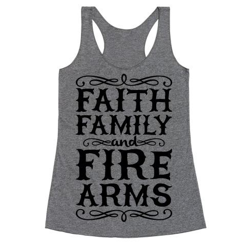 Faith, Family, And Firearms (Political) Racerback Tank Top