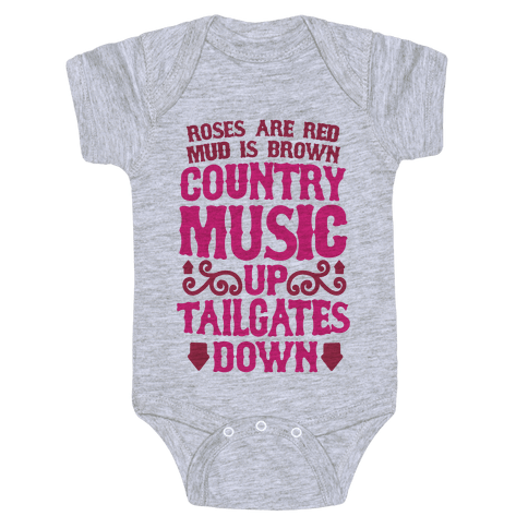 Country Music Up, Tailgates Down Baby Onesy