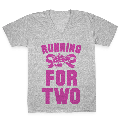 Running for Two V-Neck Tee Shirt