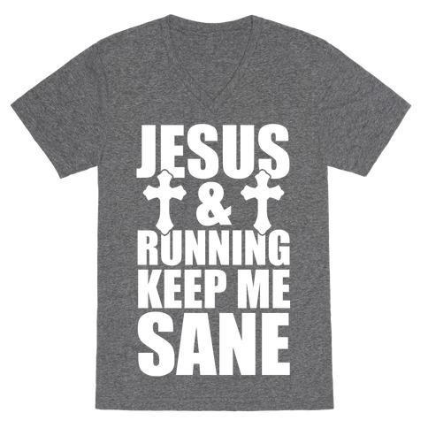 Jesus and Running Keep Me Sane (White Ink) V-Neck Tee Shirt