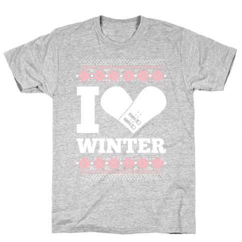 I Love Winter (Snowboard Heart) Mens T-Shirt